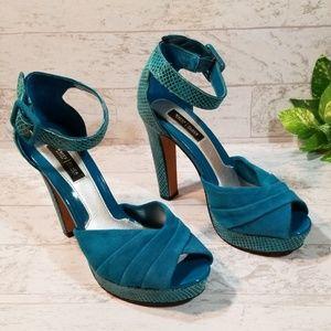 White House Black Market Blue Faux Snakeskin Heels